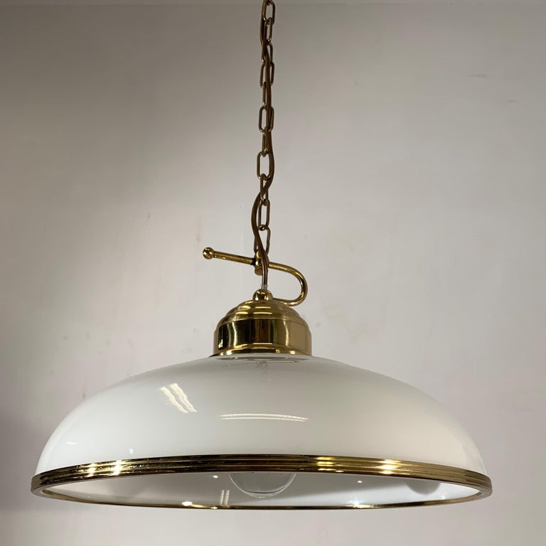 Mid-Century Modern Polished Brass and Opaline Glass Pendant Light Chandelier For Sale 3