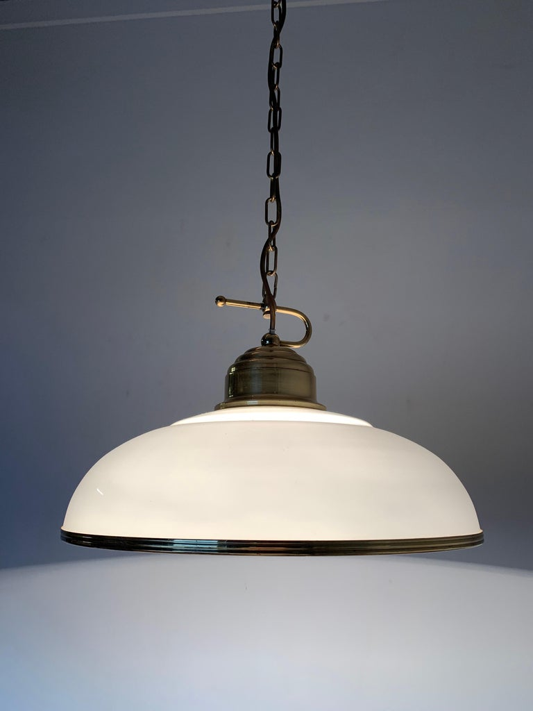 Mid-Century Modern Polished Brass and Opaline Glass Pendant Light Chandelier For Sale 4