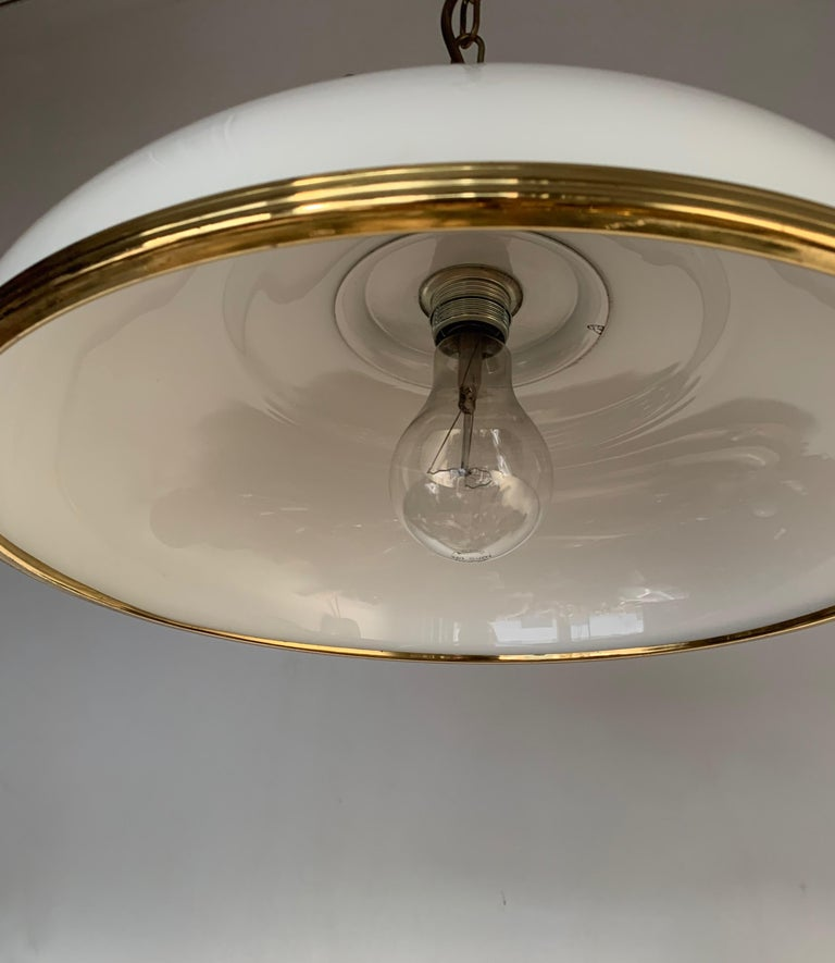 Mid-Century Modern Polished Brass and Opaline Glass Pendant Light Chandelier For Sale 7