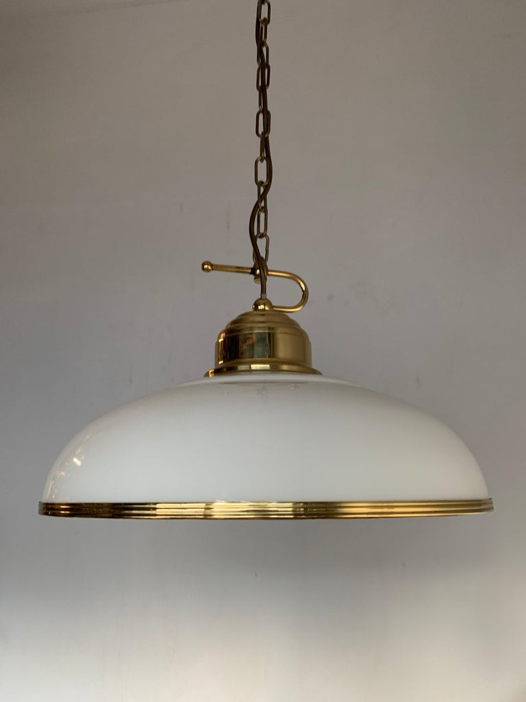 Mid-Century Modern Polished Brass and Opaline Glass Pendant Light Chandelier For Sale 8