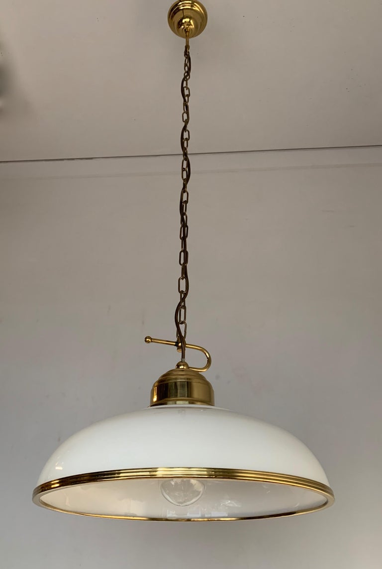 Mid-Century Modern Polished Brass and Opaline Glass Pendant Light Chandelier For Sale 10