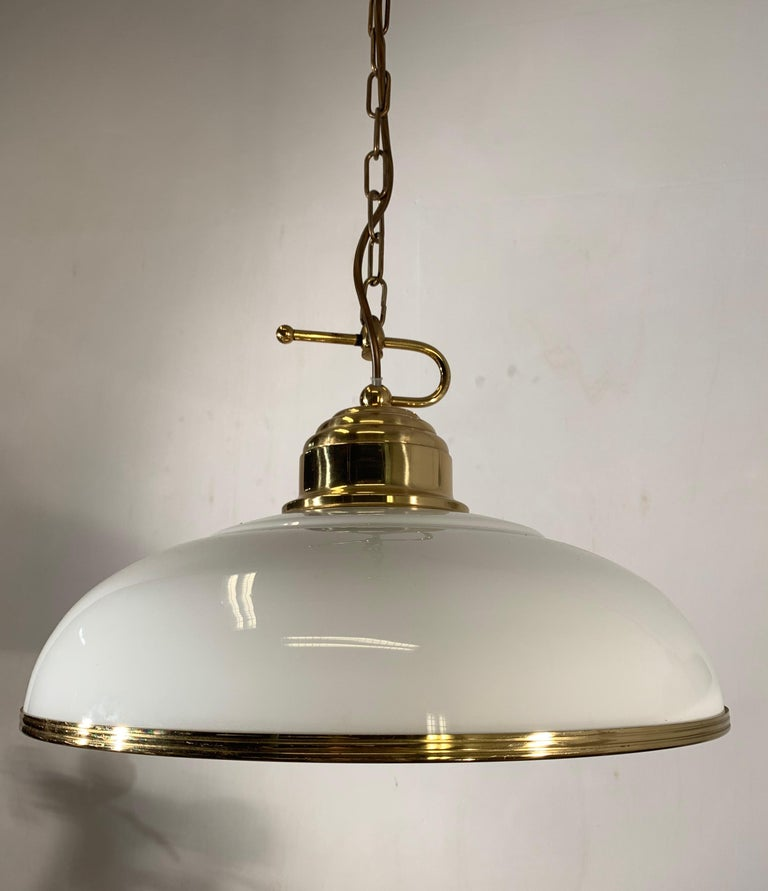 European Mid-Century Modern Polished Brass and Opaline Glass Pendant Light Chandelier For Sale