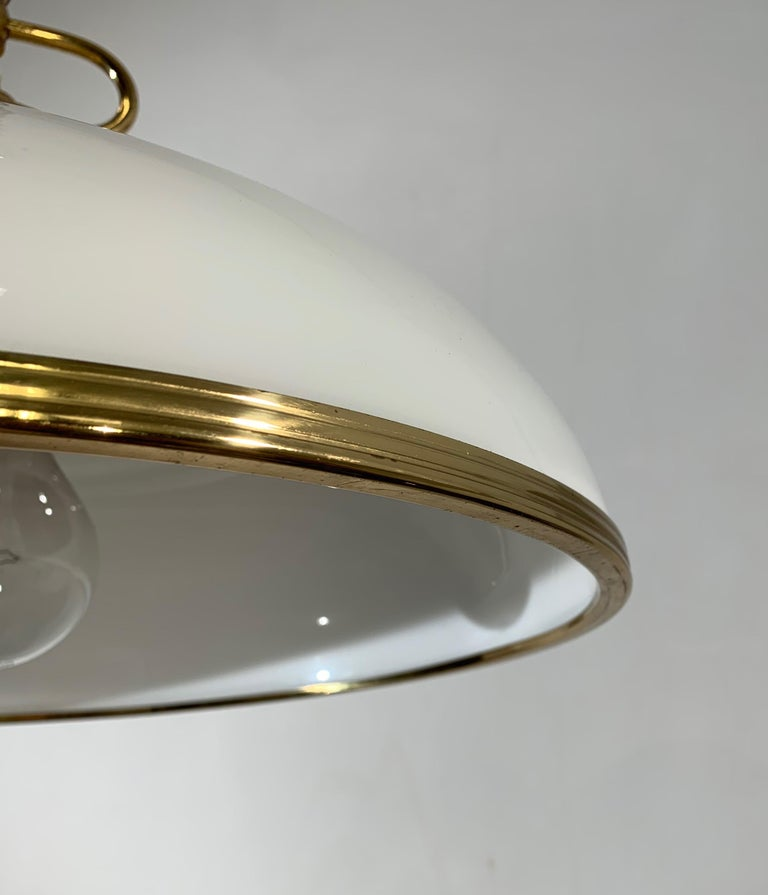 Patinated Mid-Century Modern Polished Brass and Opaline Glass Pendant Light Chandelier For Sale