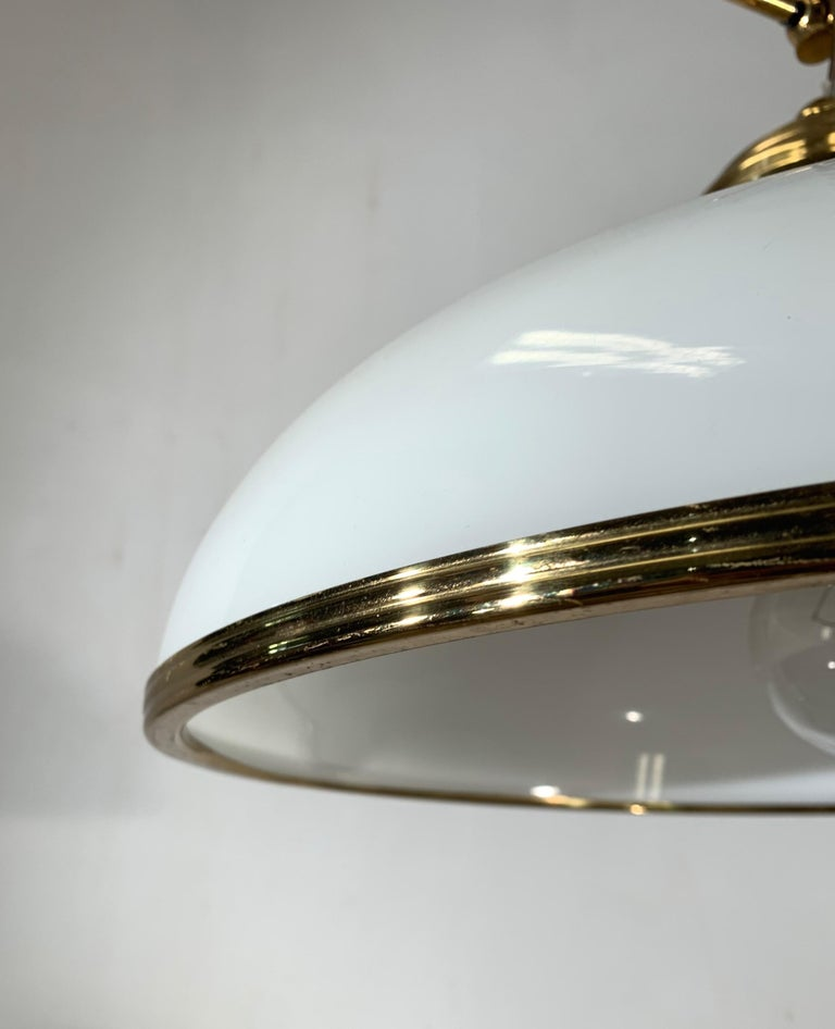 Mid-Century Modern Polished Brass and Opaline Glass Pendant Light Chandelier In Excellent Condition For Sale In Lisse, NL