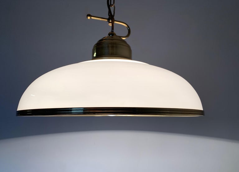 20th Century Mid-Century Modern Polished Brass and Opaline Glass Pendant Light Chandelier For Sale