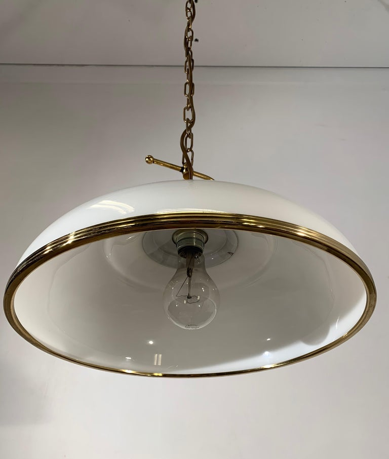 Mid-Century Modern Polished Brass and Opaline Glass Pendant Light Chandelier For Sale 1