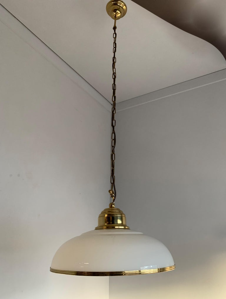 Mid-Century Modern Polished Brass and Opaline Glass Pendant Light Chandelier For Sale 2