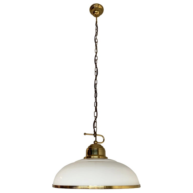 Mid-Century Modern Polished Brass and Opaline Glass Pendant Light Chandelier For Sale