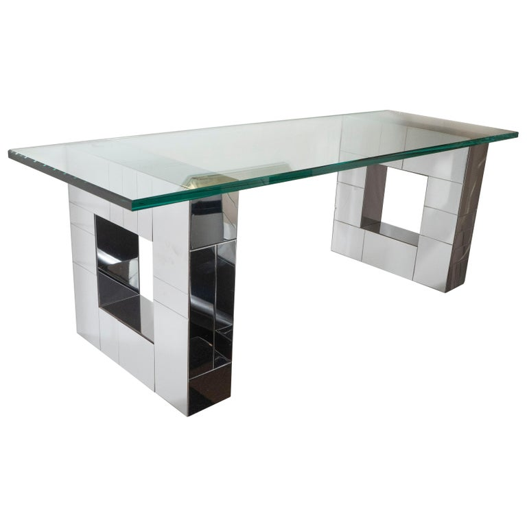 """Mid-Century Modern Polished Chrome """"Cityscape"""" Shelf Signed by Paul Evans For Sale"""