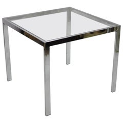 Mid-Century Modern Polished Chrome Glass Top Square Occasional Side End Table