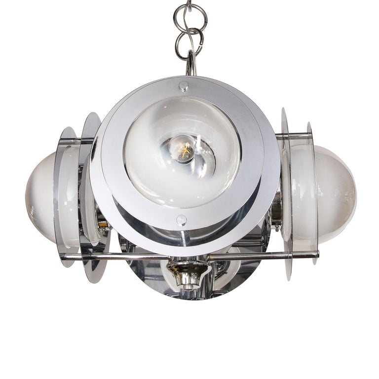 Mid-Century Modern Polished Chrome & Murano Ombre Glass Occulus 4-Arm Chandelier For Sale 7