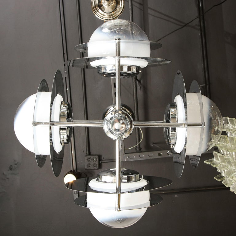 Mid-Century Modern Polished Chrome & Murano Ombre Glass Occulus 4-Arm Chandelier For Sale 8