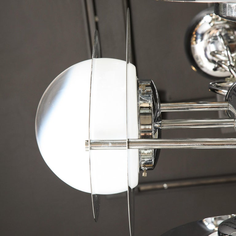 Mid-Century Modern Polished Chrome & Murano Ombre Glass Occulus 4-Arm Chandelier For Sale 9