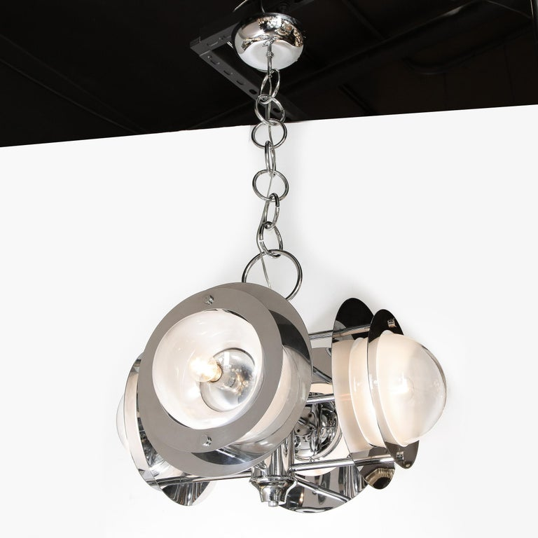 Mid-Century Modern Polished Chrome & Murano Ombre Glass Occulus 4-Arm Chandelier For Sale 1