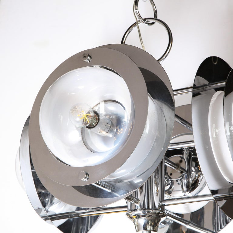 Mid-Century Modern Polished Chrome & Murano Ombre Glass Occulus 4-Arm Chandelier For Sale 3