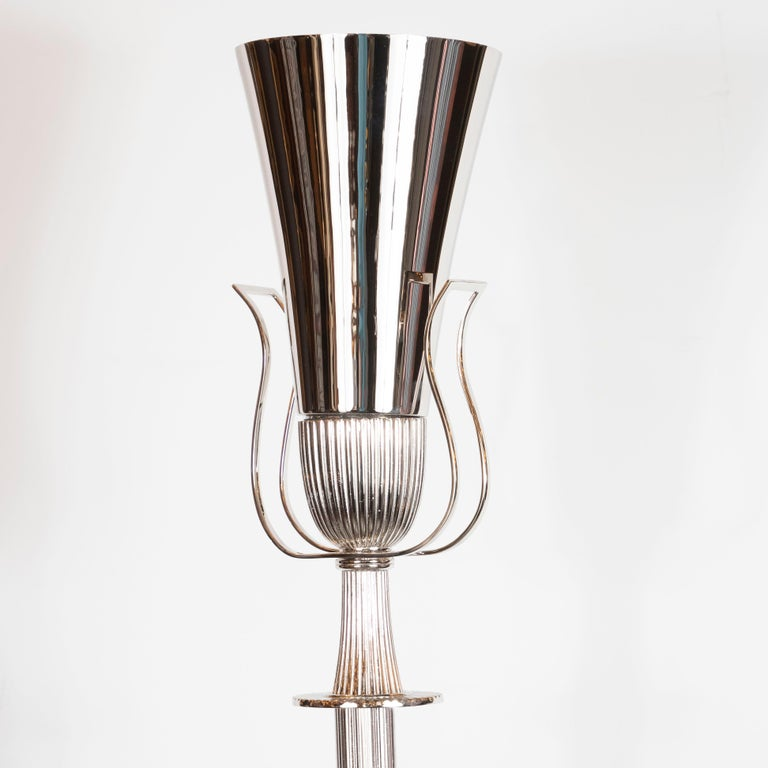 Mid-Century Modern Polished Nickel Urn Form Torchère by Tommi Parzinger In Excellent Condition For Sale In New York, NY