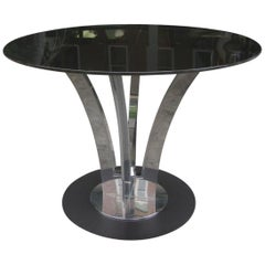 Mid-Century Modern Polished Steel with Smoked Glass Top Dining Table