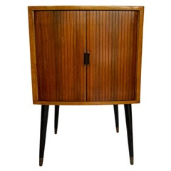 Mid-Century Modern Polished Teak Cabinet with Tambour Doors, ca. 1960