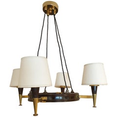Mid-Century Modern Polished Wood Chandelier with Brass Detailing