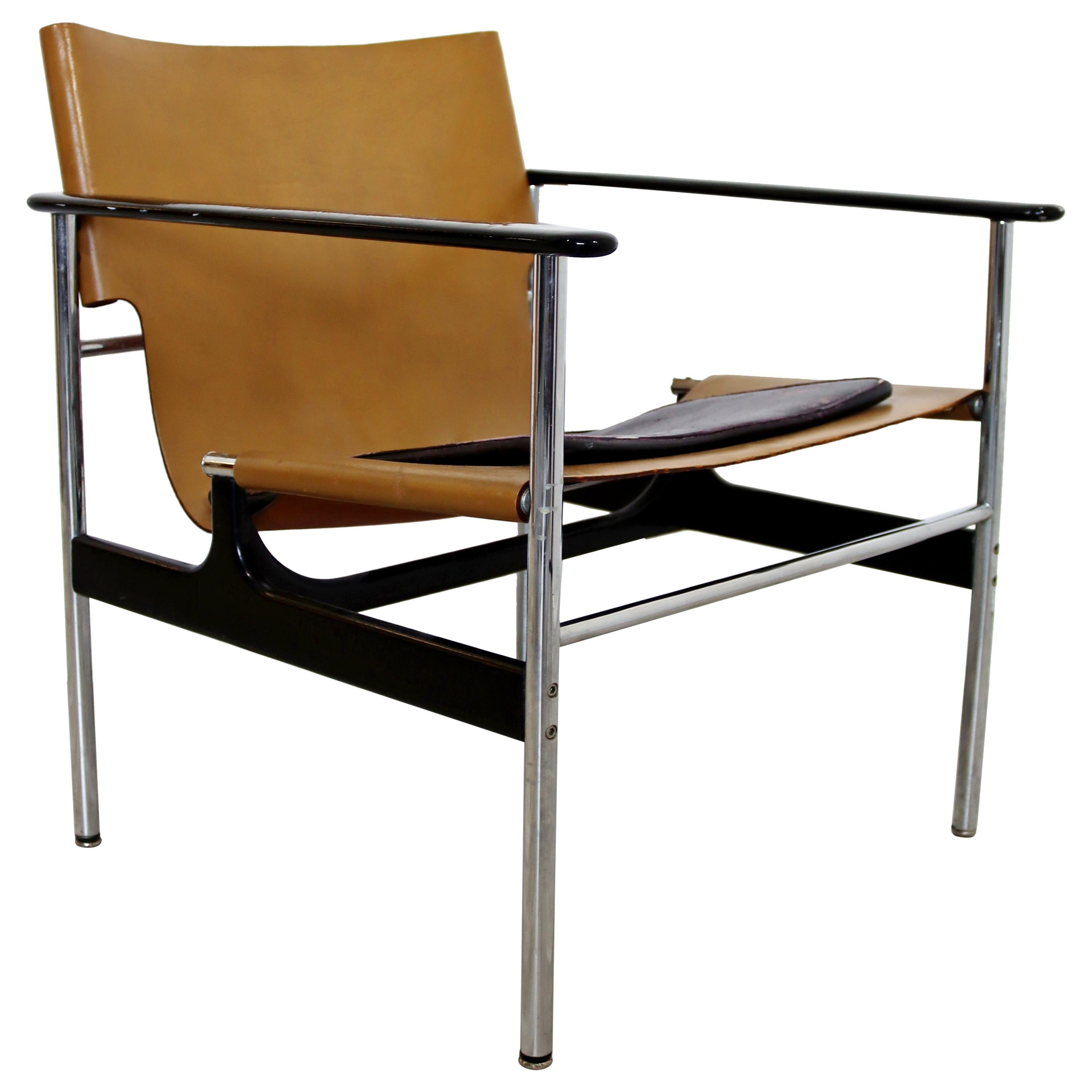 Mid-Century Modern Pollock for Knoll Leather Chrome Sling Lounge Chair, 1960s