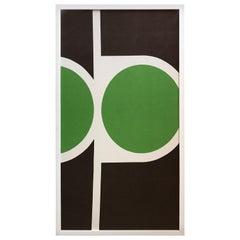 Mid-Century Modern Pop Art Textile Fabric Framed Peter McCulloch, 1968