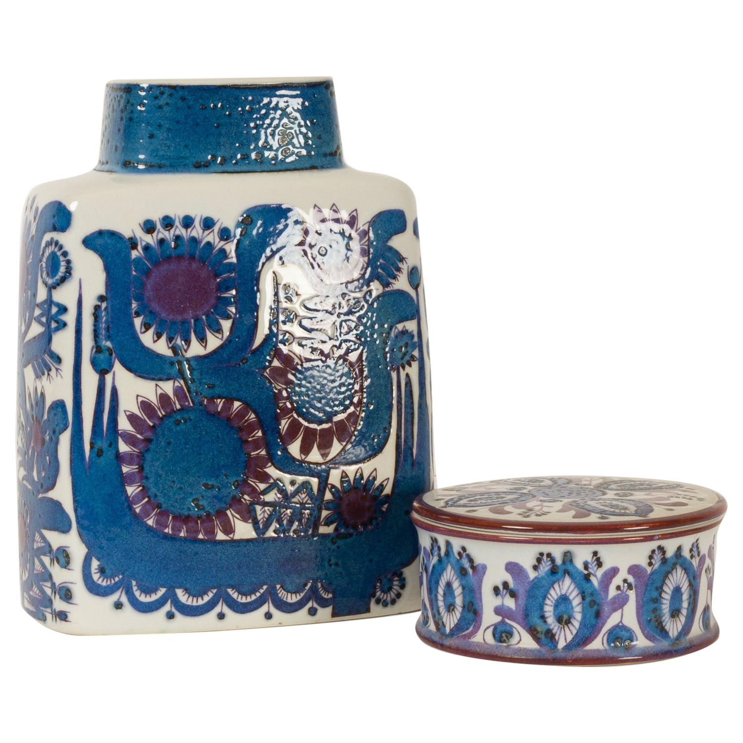 Mid-century Modern Porcelain Vase and Jar by Berte Jessen for Royal Copenhagen