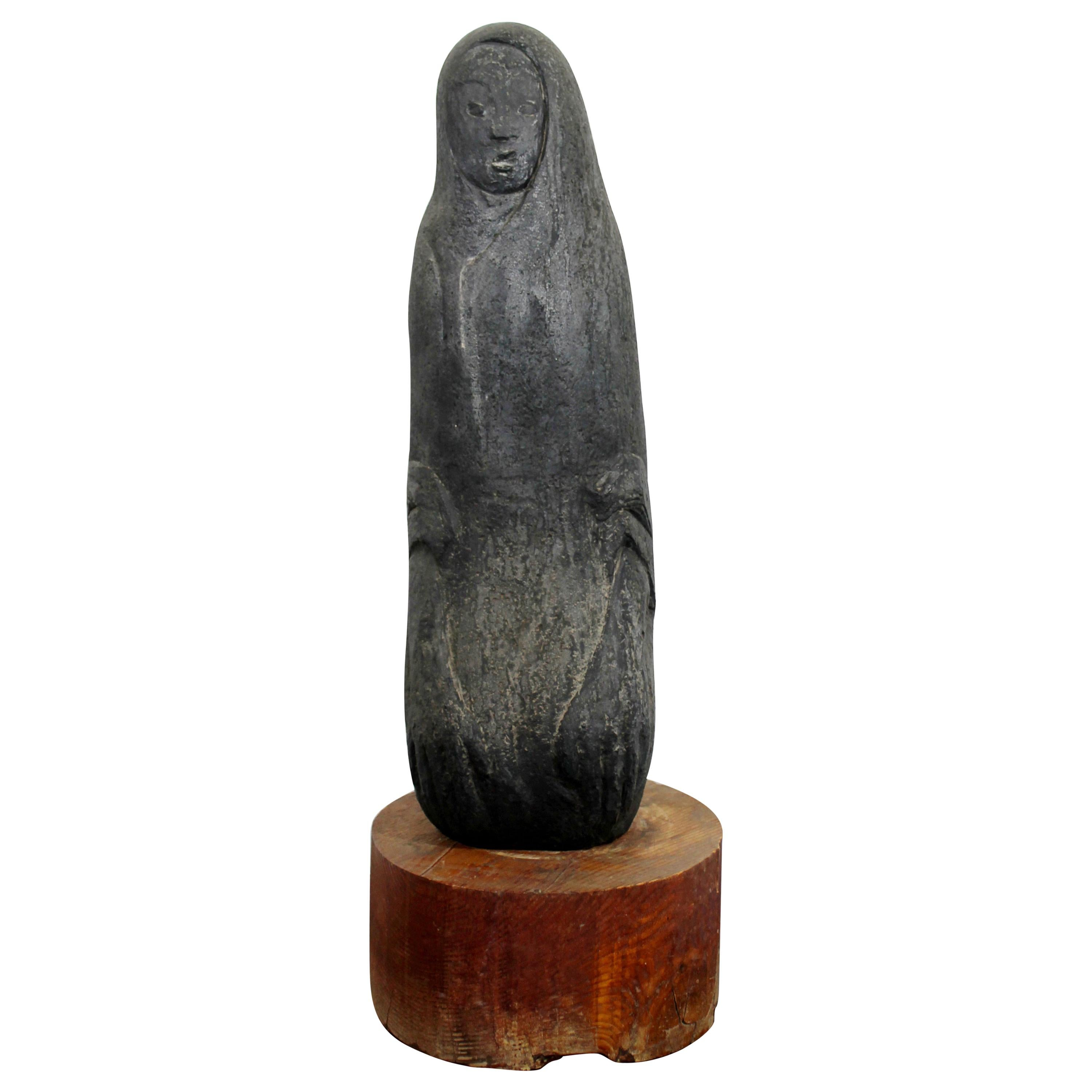 Mid-Century Modern Porous Stone Table Sculpture Abstracted Figure on Wood Base