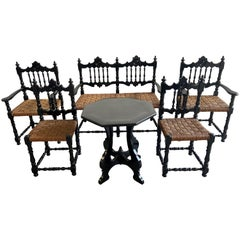 Mid-Century Modern Portuguese Living Room Set in Ebonized Wood and Straw Seats