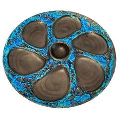 Mid-Century Modern Pottery Fat Lava Oyster Plate Meereschaum Cyclope, France