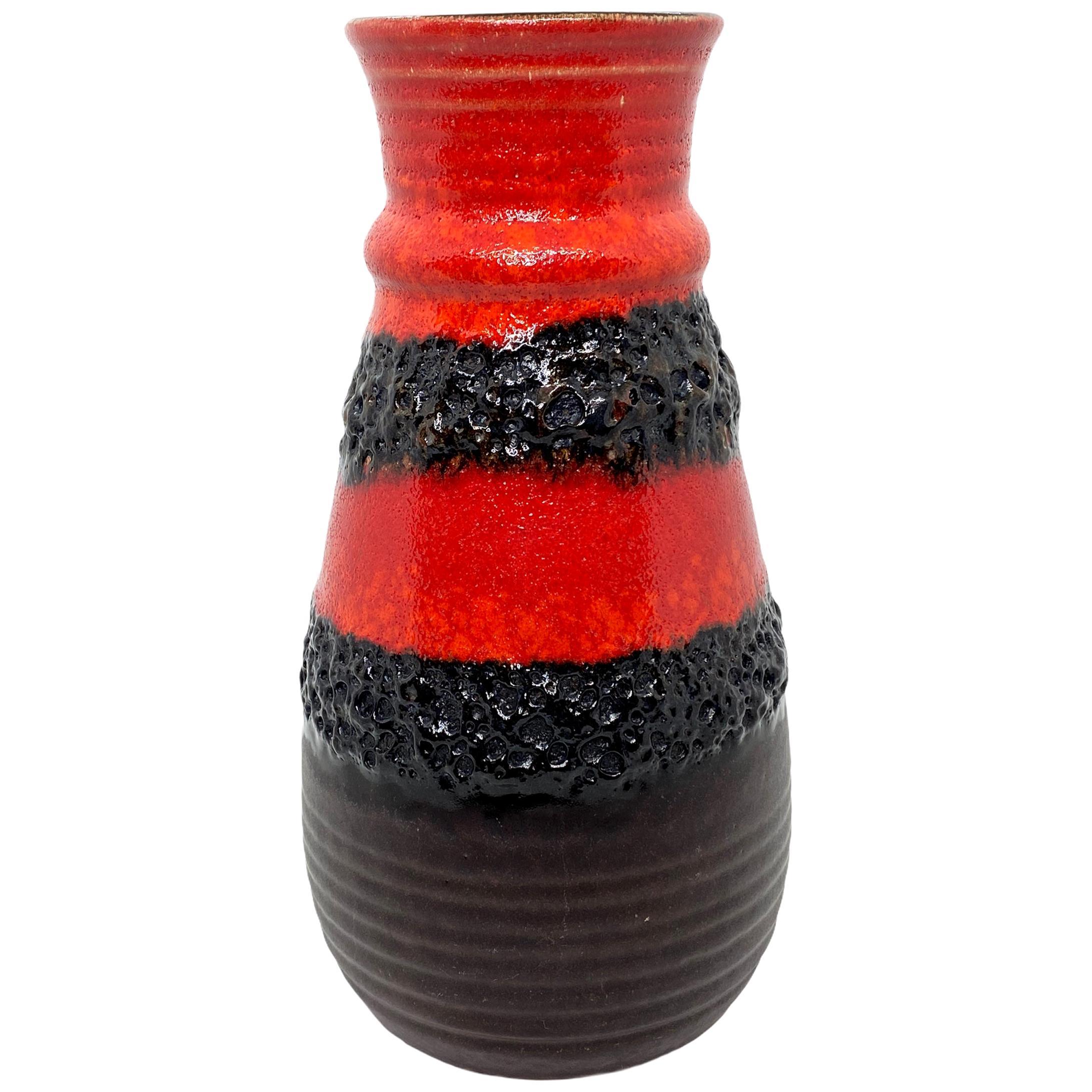Mid-Century Modern Pottery Fat Lava Vase by Bay Keramik, Germany, 1970s