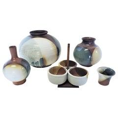 Mid-Century Modern Pottery Set of Five