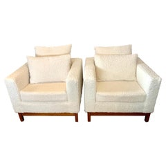 Mid-Century Modern Probber Cube Lounge Chairs Newly Upholstered in Boucle Fabric