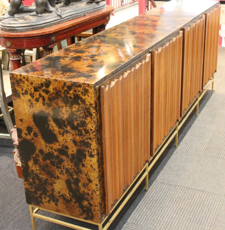 American Mid-Century Modern Probber Style Credenza with Tortoiseshell Finish For Sale