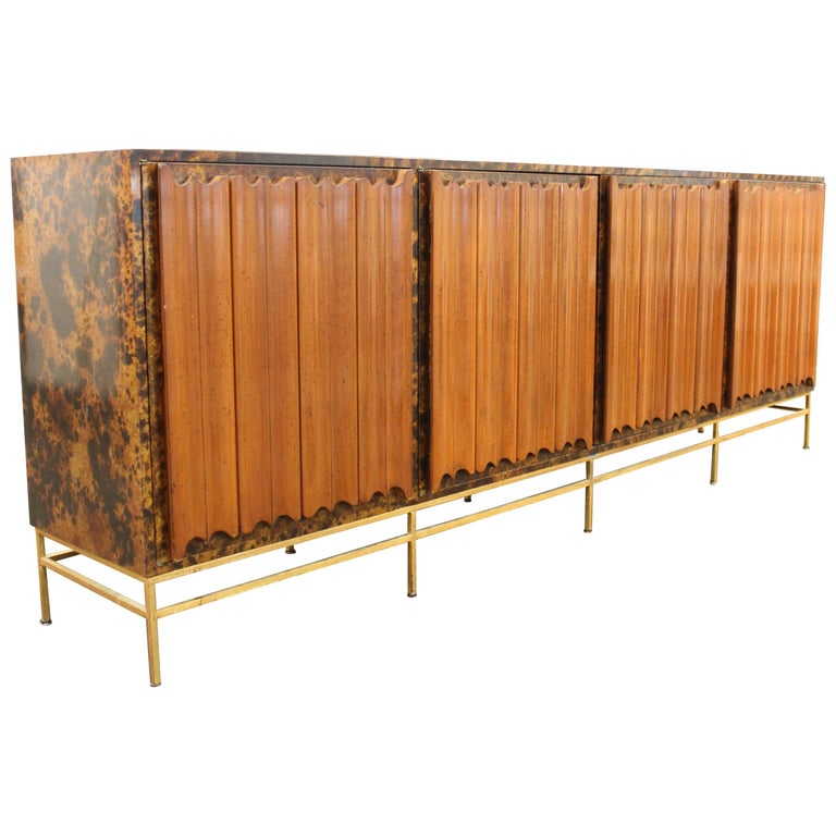 Mid-Century Modern Probber Style Credenza with Tortoiseshell Finish For Sale