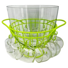 Mid-Century Modern Punch Bowl Set, Powder Coated Chartreuse Metal Caddy