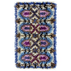 Mid-Century Modern Purple Blue Rectangle Marks Rya Area Rug Carpet 1960s, Sweden