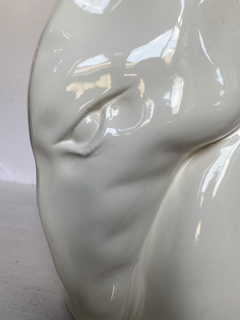 Mid-Century Modern Ram or Gazelle Head Ceramic Table Lamp For Sale 4