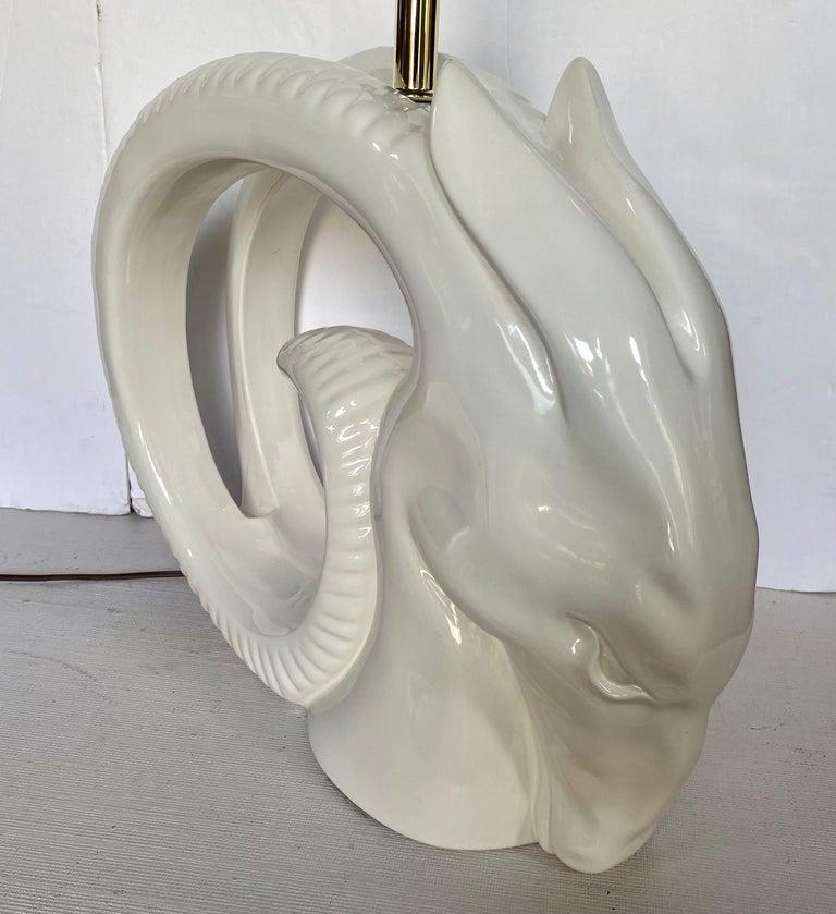 Mid-Century Modern Ram or Gazelle Head Ceramic Table Lamp In Good Condition For Sale In Lambertville, NJ