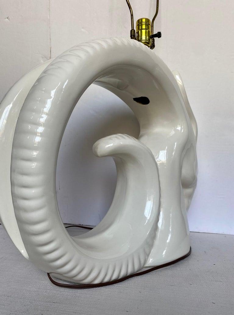Mid-Century Modern Ram or Gazelle Head Ceramic Table Lamp For Sale 2