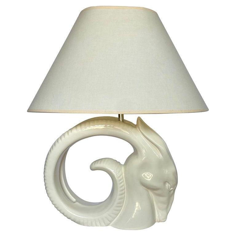 Mid-Century Modern Ram or Gazelle Head Ceramic Table Lamp For Sale