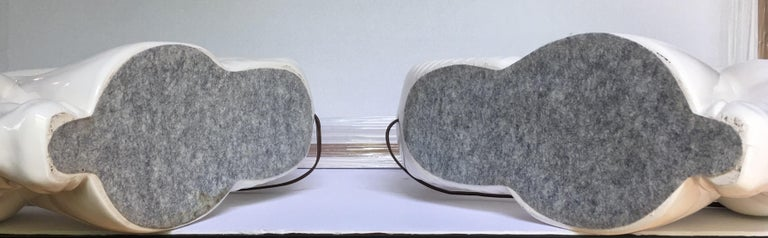 Mid-Century Modern Ram or Gazelle Head Ceramic Table Lamps For Sale 4