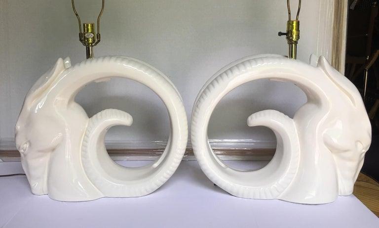 Glazed Mid-Century Modern Ram or Gazelle Head Ceramic Table Lamps For Sale