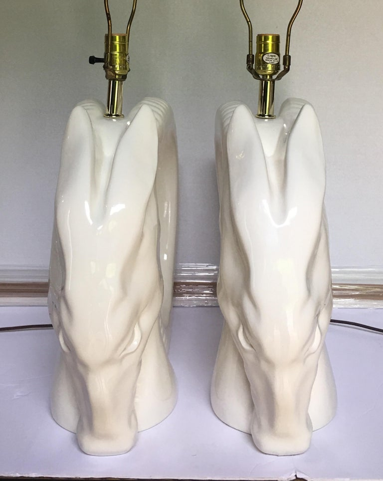 Late 20th Century Mid-Century Modern Ram or Gazelle Head Ceramic Table Lamps For Sale