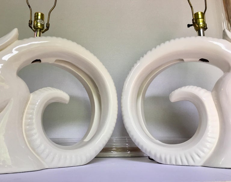 Brass Mid-Century Modern Ram or Gazelle Head Ceramic Table Lamps For Sale