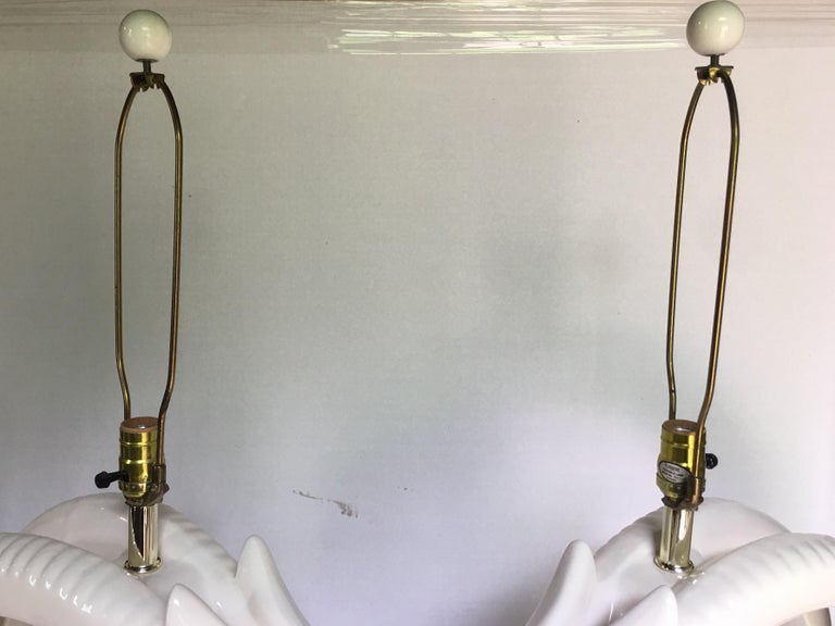 Mid-Century Modern Ram or Gazelle Head Ceramic Table Lamps For Sale 3