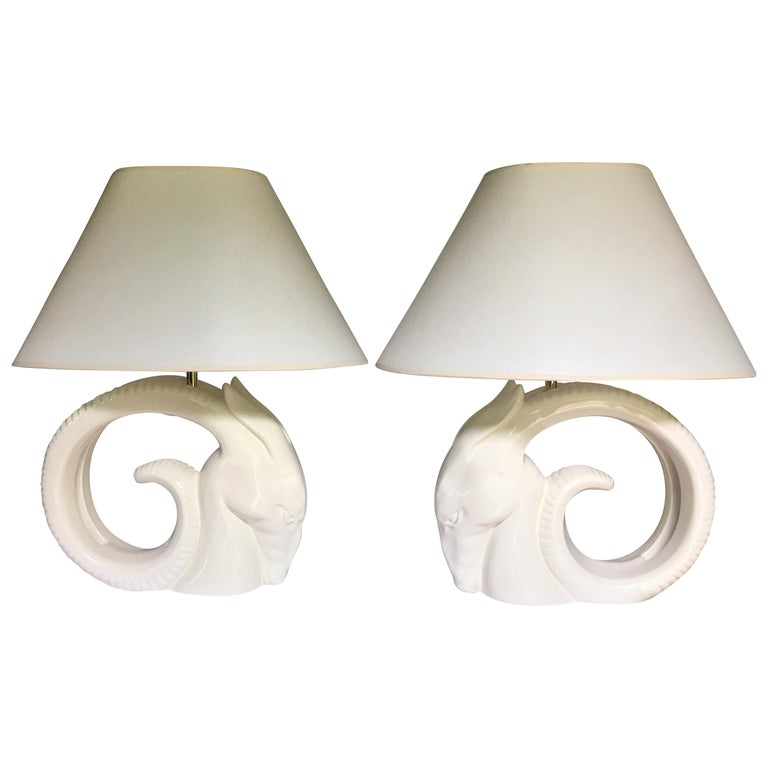 Mid-Century Modern Ram or Gazelle Head Ceramic Table Lamps For Sale