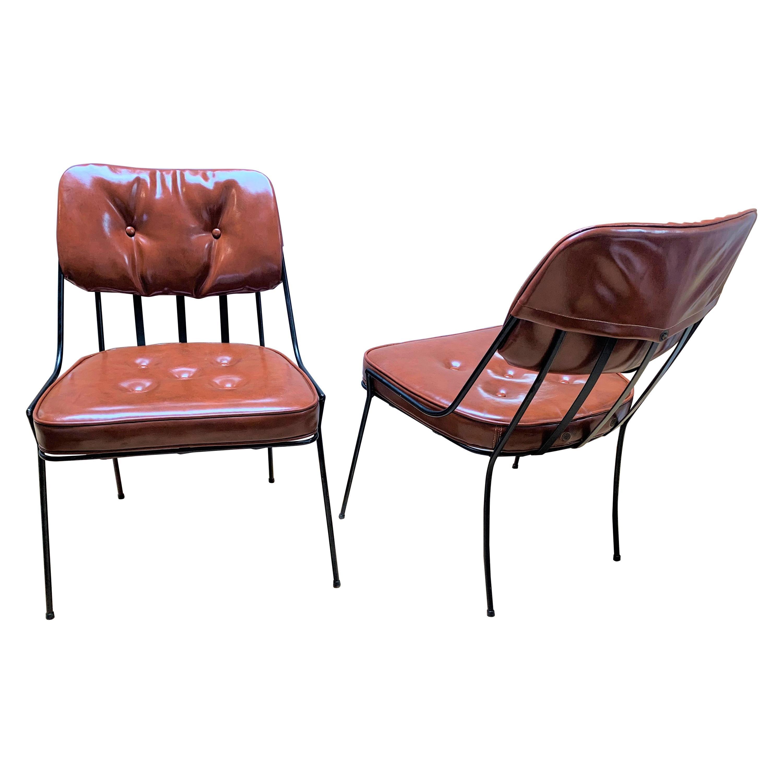 Mid-Century Modern Rare 1950s Vintage Pair of Paul Laszlo Iron Chairs