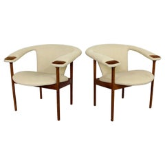 Mid-Century Modern Rare Adrian Pearsall Pair of Wood Lounge Armchairs
