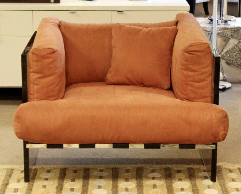 American Mid-Century Modern Rare Baughman Smoked Lucite Chrome Sofa Club Chair Set, 1970s For Sale
