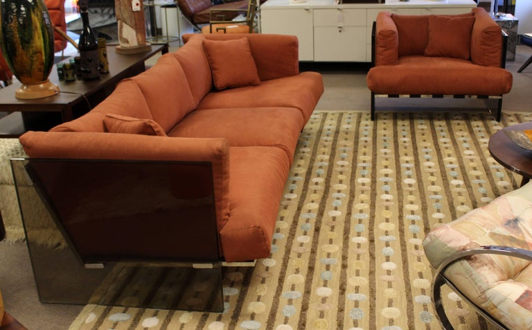 Mid-Century Modern Rare Baughman Smoked Lucite Chrome Sofa Club Chair Set, 1970s In Good Condition For Sale In Keego Harbor, MI